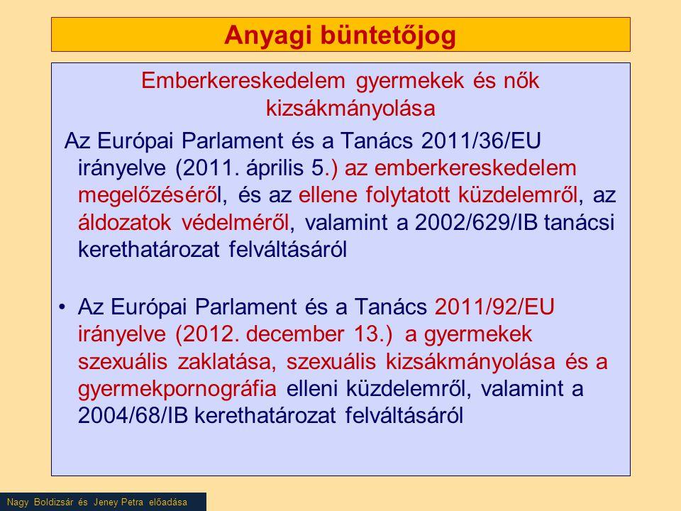 Nagy Boldizsár és Jeney Petra előadása Anyagi büntetőjog Emberkereskedelem gyermekek és nők kizsákmányolása Az Európai Parlament és a Tanács 2011/36/EU irányelve (2011.