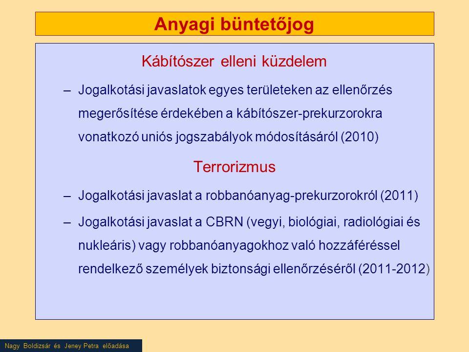 Nagy Boldizsár és Jeney Petra előadása Anyagi büntetőjog Kábítószer elleni küzdelem –Jogalkotási javaslatok egyes területeken az ellenőrzés megerősítése érdekében a kábítószer-prekurzorokra vonatkozó uniós jogszabályok módosításáról (2010) Terrorizmus –Jogalkotási javaslat a robbanóanyag-prekurzorokról (2011) –Jogalkotási javaslat a CBRN (vegyi, biológiai, radiológiai és nukleáris) vagy robbanóanyagokhoz való hozzáféréssel rendelkező személyek biztonsági ellenőrzéséről (2011-2012)