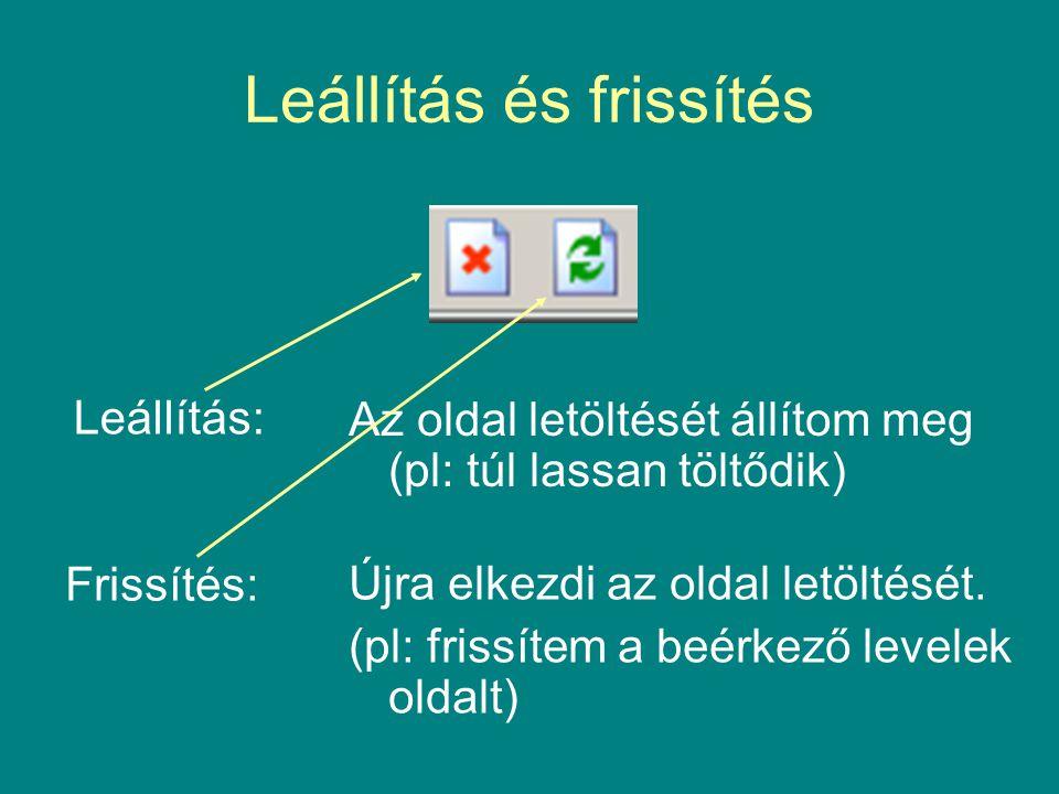 Leállítás és frissítés Leállítás: Újra elkezdi az oldal letöltését. (pl: frissítem a beérkező levelek oldalt) Frissítés: Az oldal letöltését állítom m