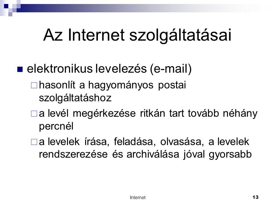Internet13 Az Internet szolgáltatásai  elektronikus levelezés (e-mail)  hasonlít a hagyományos postai szolgáltatáshoz  a levél megérkezése ritkán tart tovább néhány percnél  a levelek írása, feladása, olvasása, a levelek rendszerezése és archiválása jóval gyorsabb