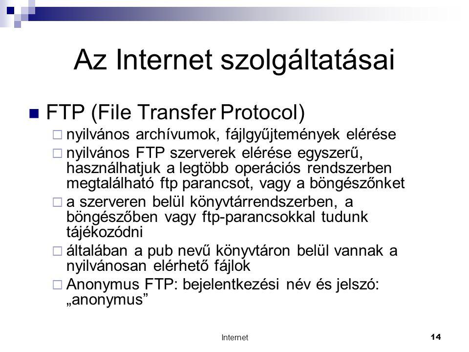 """Internet14 Az Internet szolgáltatásai  FTP (File Transfer Protocol)  nyilvános archívumok, fájlgyűjtemények elérése  nyilvános FTP szerverek elérése egyszerű, használhatjuk a legtöbb operációs rendszerben megtalálható ftp parancsot, vagy a böngészőnket  a szerveren belül könyvtárrendszerben, a böngészőben vagy ftp-parancsokkal tudunk tájékozódni  általában a pub nevű könyvtáron belül vannak a nyilvánosan elérhető fájlok  Anonymus FTP: bejelentkezési név és jelszó: """"anonymus"""