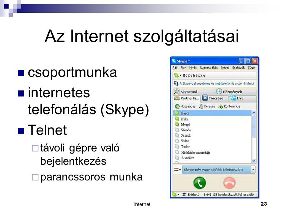 Internet23 Az Internet szolgáltatásai  csoportmunka  internetes telefonálás (Skype)  Telnet  távoli gépre való bejelentkezés  parancssoros munka