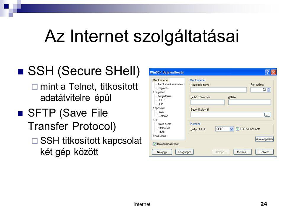 Internet24 Az Internet szolgáltatásai  SSH (Secure SHell)  mint a Telnet, titkosított adatátvitelre épül  SFTP (Save File Transfer Protocol)  SSH titkosított kapcsolat két gép között