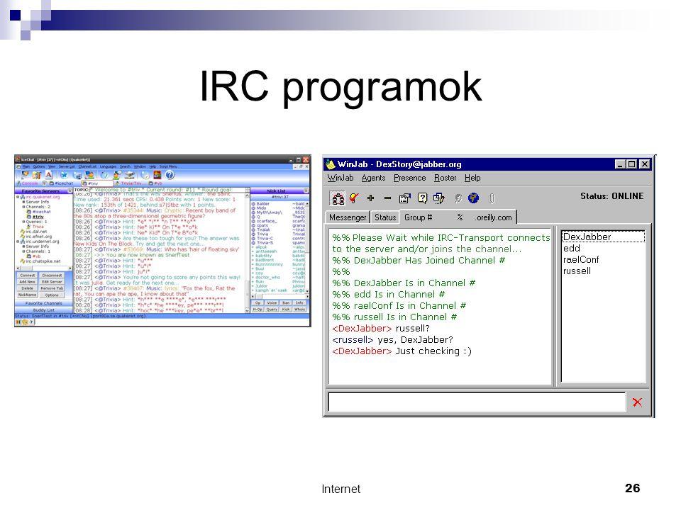 Internet26 IRC programok