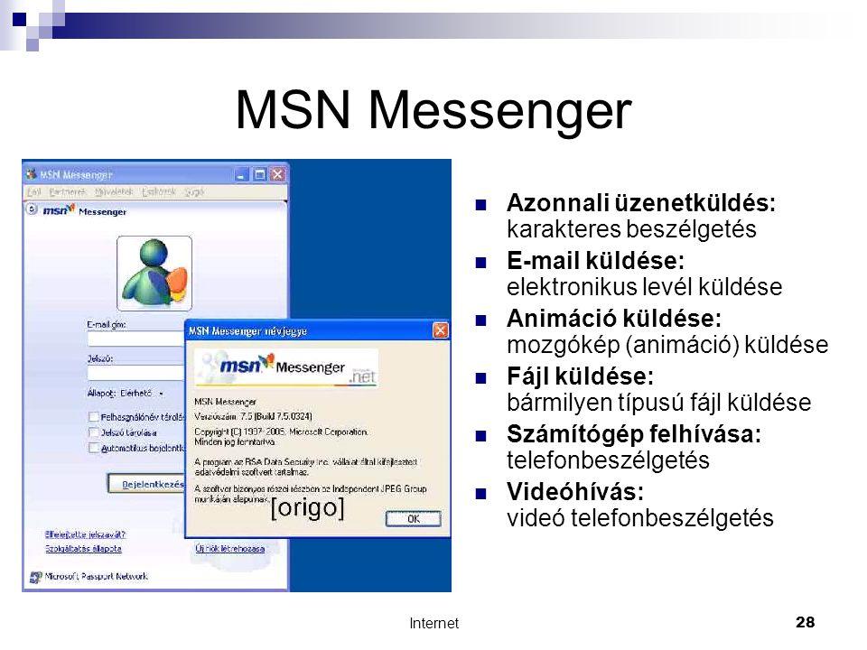 Internet28 MSN Messenger  Azonnali üzenetküldés: karakteres beszélgetés  E-mail küldése: elektronikus levél küldése  Animáció küldése: mozgókép (animáció) küldése  Fájl küldése: bármilyen típusú fájl küldése  Számítógép felhívása: telefonbeszélgetés  Videóhívás: videó telefonbeszélgetés
