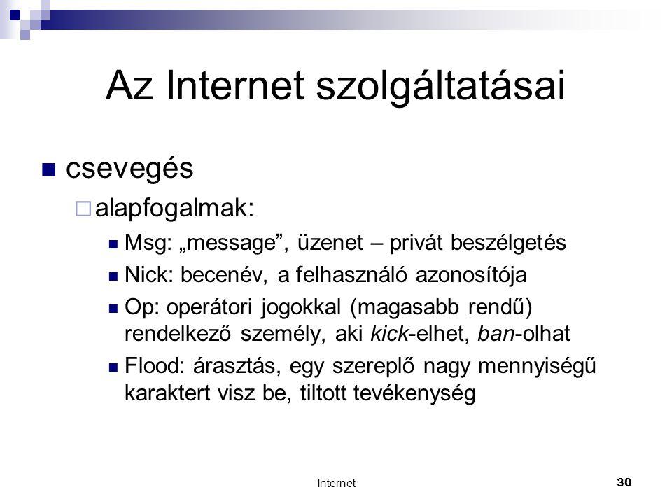 """Internet30 Az Internet szolgáltatásai  csevegés  alapfogalmak:  Msg: """"message , üzenet – privát beszélgetés  Nick: becenév, a felhasználó azonosítója  Op: operátori jogokkal (magasabb rendű) rendelkező személy, aki kick-elhet, ban-olhat  Flood: árasztás, egy szereplő nagy mennyiségű karaktert visz be, tiltott tevékenység"""