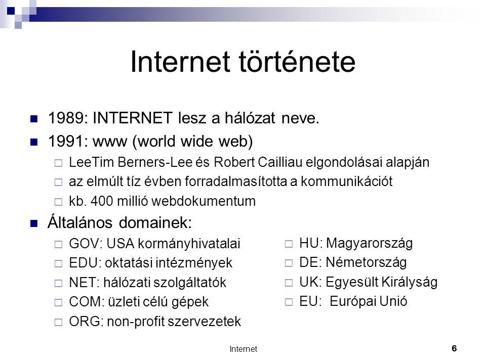 Internet17 Az Internet szolgáltatásai  Hírcsoportok (News)  legfontosabb témák:  * alt - alternatív témák  * biz - üzlet  * comp - számítástechnika  * news - magáról a Usenetről  * rec - szórakozás  * sci - tudomány  * soc - szociális, népekről szóló témák  * talk - leginkább politika  pl.: soc.culture.magyar - Magyarországgal általában foglalkozó hírcsoport