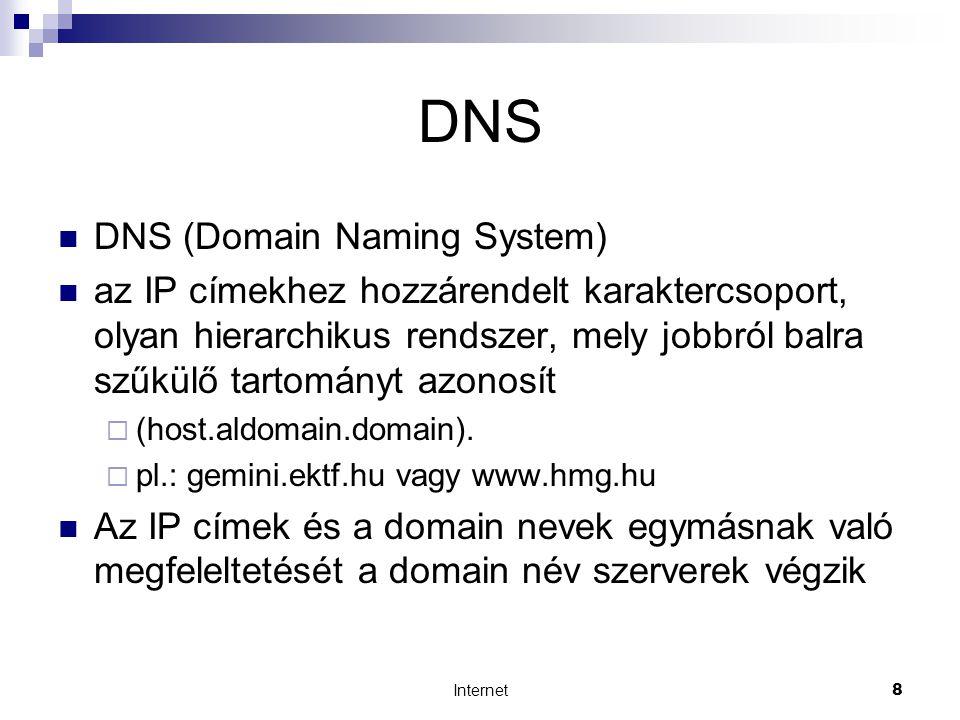 Internet19 Az Internet szolgáltatásai  WWW (World Wide Web)  világméretű hálózat  hiperlink: dokumentumok összekapcsolása  portál: olyan webhely, amely minden olyan szolgáltatást tartalmaz, amire a felhasználónak szüksége lehet (keresés, oldaltérkép, stb.)  Web böngészők: Internet Explorer (IE), Mozilla Firefox, Netscape, Opera, Galeon, Lynx, stb.