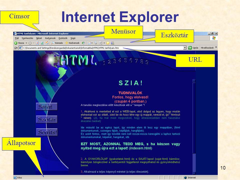 10 Internet Explorer Menüsor Eszköztár URL Címsor Állapotsor
