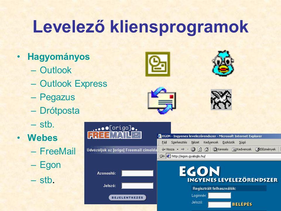 13 Levelező kliensprogramok •Hagyományos –Outlook –Outlook Express –Pegazus –Drótposta –stb. •Webes –FreeMail –Egon –stb.