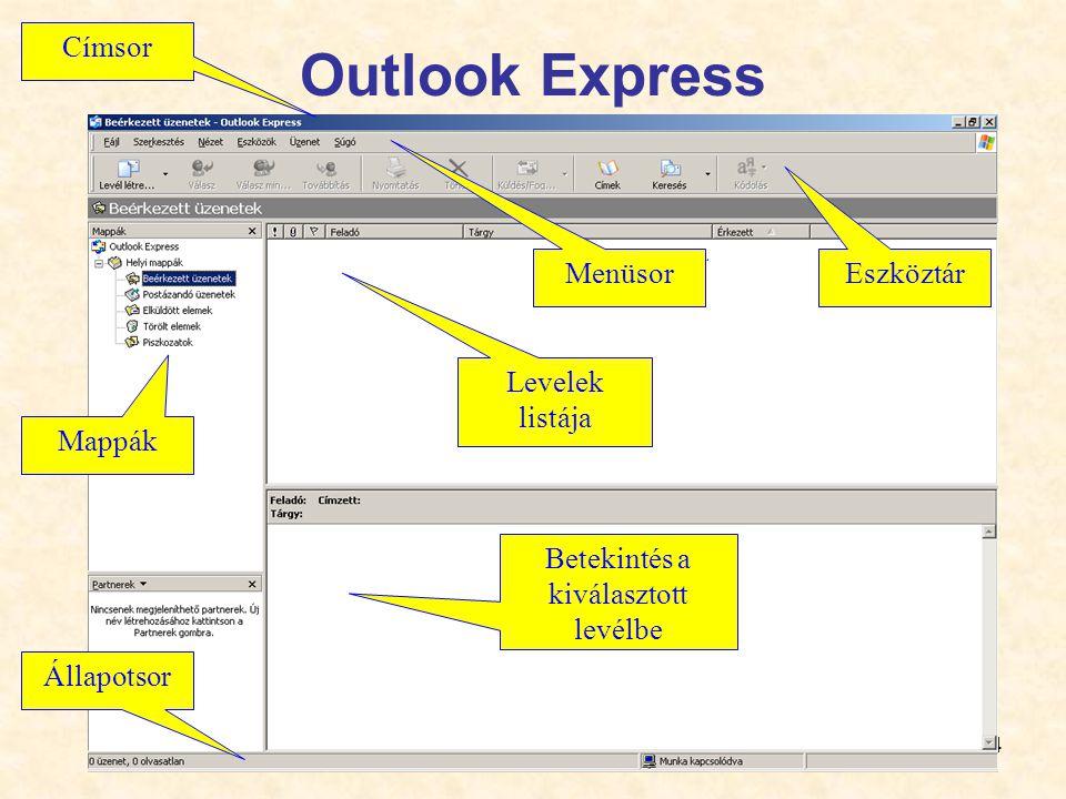 14 Outlook Express Menüsor Eszköztár Címsor Állapotsor Mappák Levelek listája Betekintés a kiválasztott levélbe