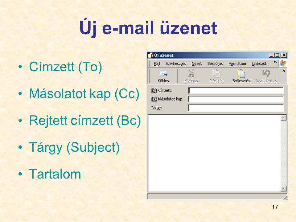 17 Új e-mail üzenet •Címzett (To) •Másolatot kap (Cc) •Rejtett címzett (Bc) •Tárgy (Subject) •Tartalom
