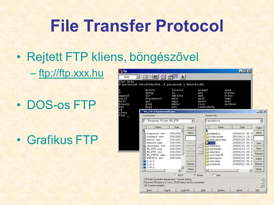 19 File Transfer Protocol •Rejtett FTP kliens, böngészővel –ftp://ftp.xxx.huftp://ftp.xxx.hu •DOS-os FTP •Grafikus FTP