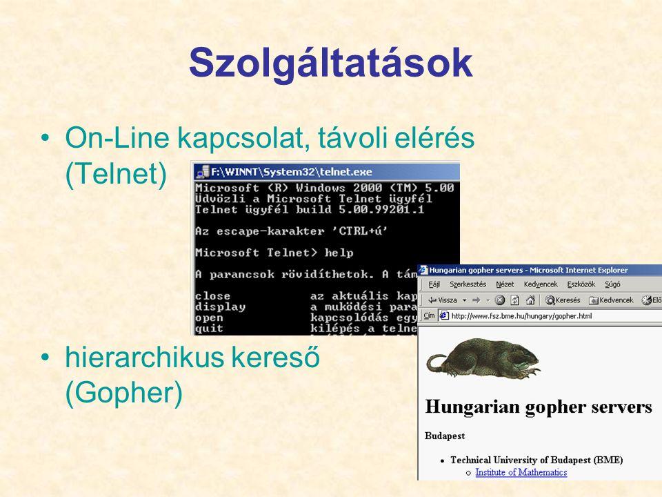 21 Szolgáltatások •On-Line kapcsolat, távoli elérés (Telnet) •hierarchikus kereső (Gopher)