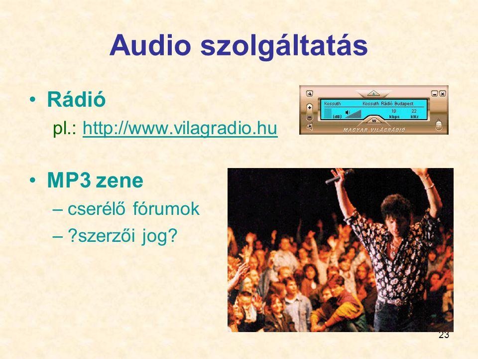 23 Audio szolgáltatás •Rádió pl.: http://www.vilagradio.huhttp://www.vilagradio.hu •MP3 zene –cserélő fórumok –?szerzői jog?