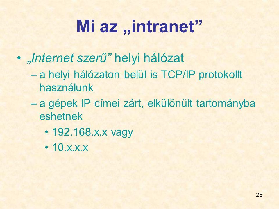 """25 Mi az """"intranet •""""Internet szerű helyi hálózat –a helyi hálózaton belül is TCP/IP protokollt használunk –a gépek IP címei zárt, elkülönült tartományba eshetnek •192.168.x.x vagy •10.x.x.x"""