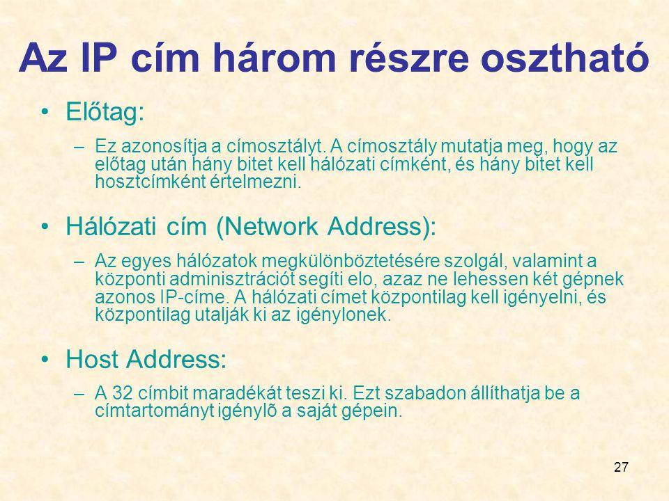 27 Az IP cím három részre osztható •Előtag: –Ez azonosítja a címosztályt.