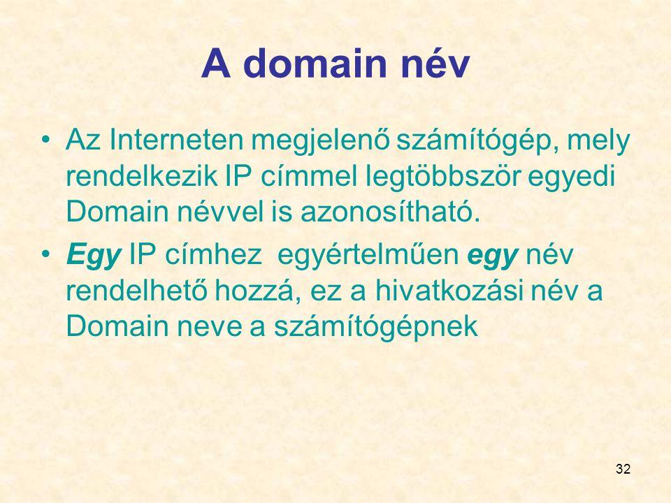 32 A domain név •Az Interneten megjelenő számítógép, mely rendelkezik IP címmel legtöbbször egyedi Domain névvel is azonosítható.