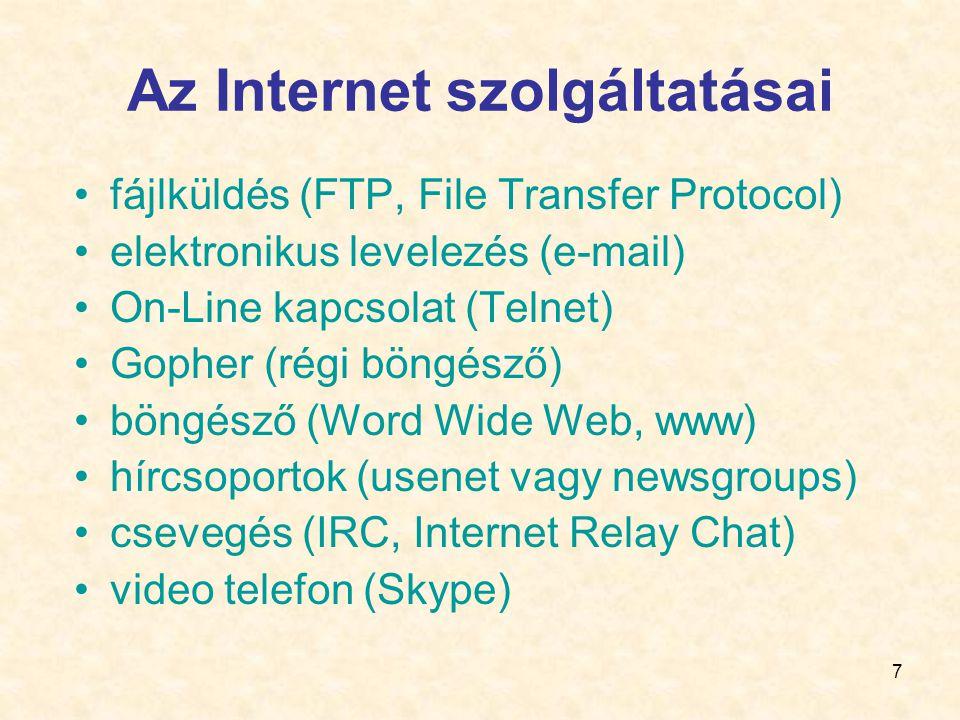 7 Az Internet szolgáltatásai •fájlküldés (FTP, File Transfer Protocol) •elektronikus levelezés (e-mail) •On-Line kapcsolat (Telnet) •Gopher (régi böngésző) •böngésző (Word Wide Web, www) •hírcsoportok (usenet vagy newsgroups) •csevegés (IRC, Internet Relay Chat) •video telefon (Skype)