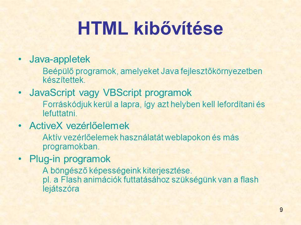 9 HTML kibővítése •Java-appletek Beépülő programok, amelyeket Java fejlesztőkörnyezetben készítettek.