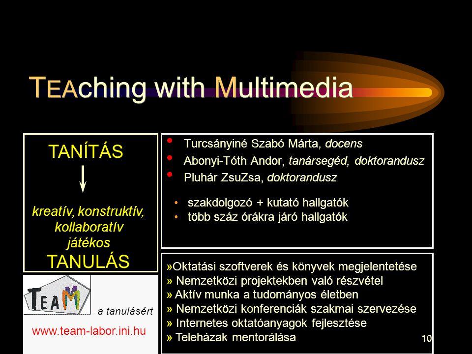 10 • Turcsányiné Szabó Márta, docens • Abonyi-Tóth Andor, tanársegéd, doktorandusz • Pluhár ZsuZsa, doktorandusz T EA ching with Multimedia TANÍTÁS kr