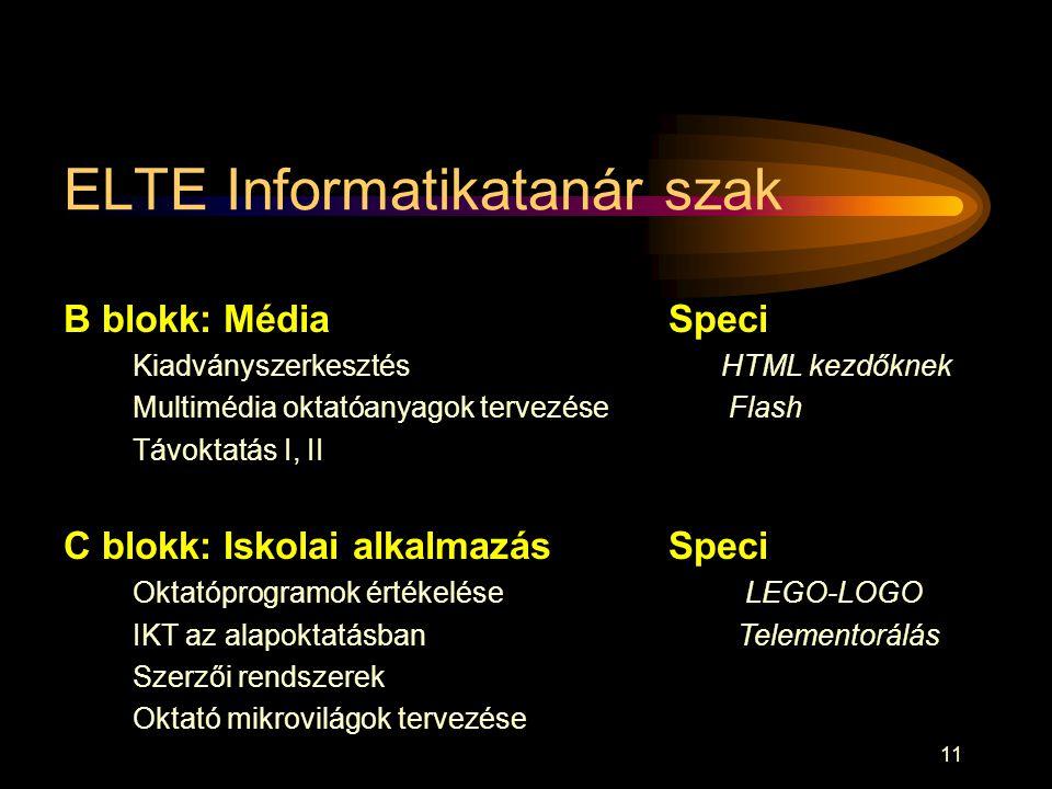 11 ELTE Informatikatanár szak B blokk: Média Kiadványszerkesztés Multimédia oktatóanyagok tervezése Távoktatás I, II C blokk: Iskolai alkalmazás Oktat
