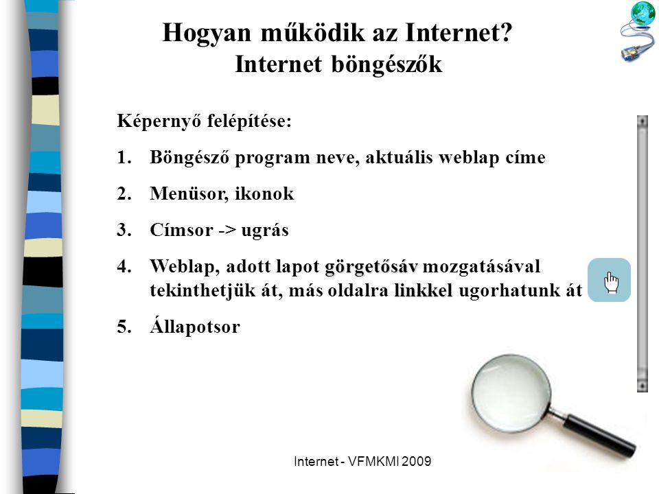 Internet - VFMKMI 2009 Hogyan működik az Internet? Internet böngészők Képernyő felépítése: 1.Böngésző program neve, aktuális weblap címe 2.Menüsor, ik