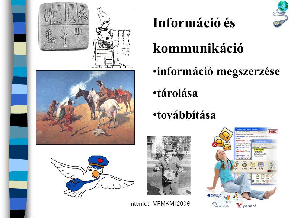 Internet - VFMKMI 2009 Információ és kommunikáció •információ megszerzése •tárolása •továbbítása