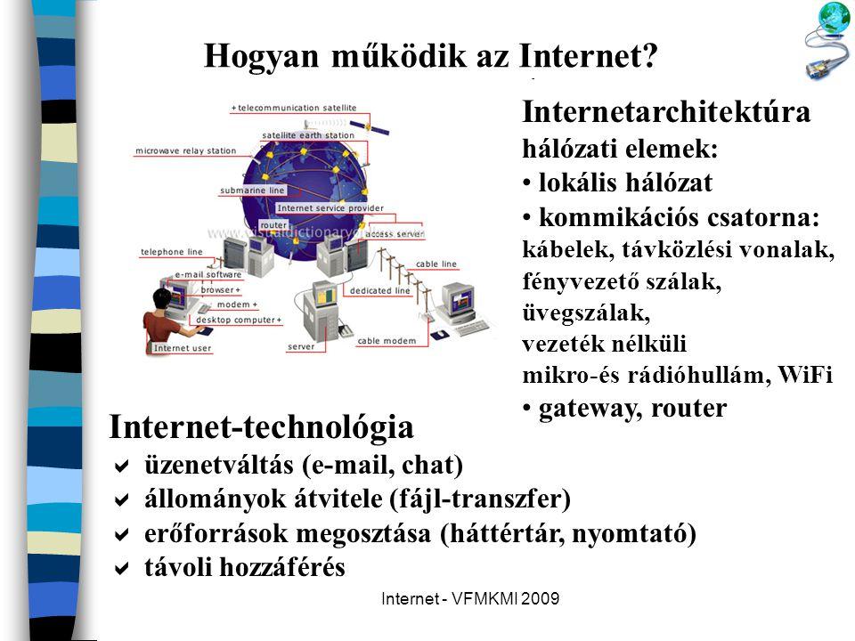 Internet - VFMKMI 2009 Hogyan működik az Internet? Internet-technológia  üzenetváltás (e-mail, chat)  állományok átvitele (fájl-transzfer)  erőforr