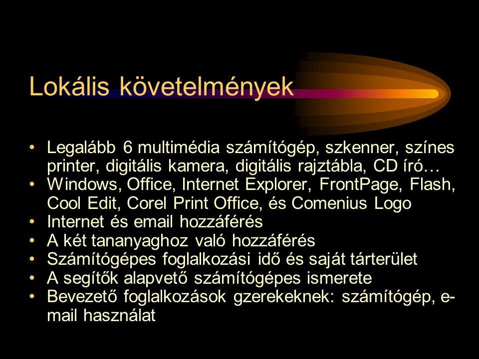 Lokális követelmények •Legalább 6 multimédia számítógép, szkenner, színes printer, digitális kamera, digitális rajztábla, CD író… •Windows, Office, Internet Explorer, FrontPage, Flash, Cool Edit, Corel Print Office, és Comenius Logo •Internet és email hozzáférés •A két tananyaghoz való hozzáférés •Számítógépes foglalkozási idő és saját tárterület •A segítők alapvető számítógépes ismerete •Bevezető foglalkozások gzerekeknek: számítógép, e- mail használat