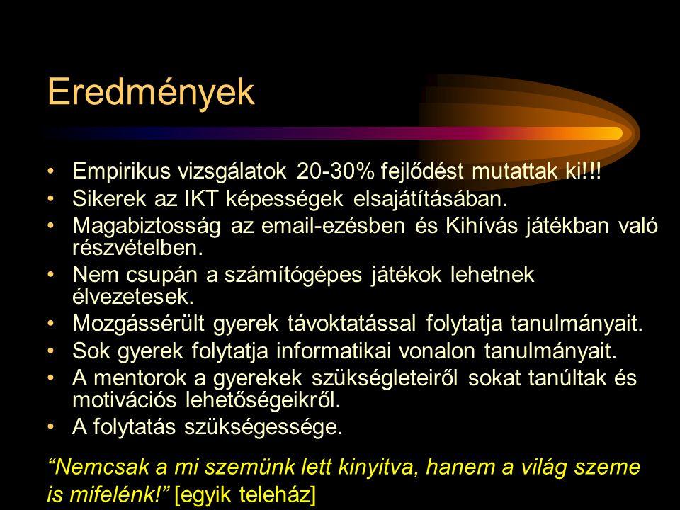 •Empirikus vizsgálatok 20-30% fejlődést mutattak ki!!.