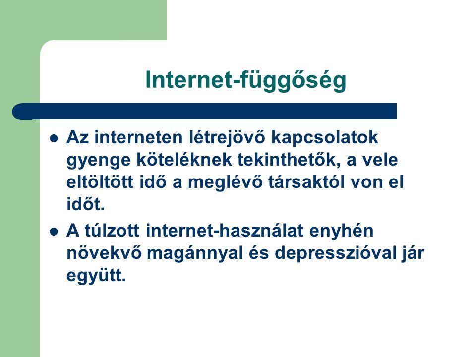 Internet-függőség  Az interneten létrejövő kapcsolatok gyenge köteléknek tekinthetők, a vele eltöltött idő a meglévő társaktól von el időt.