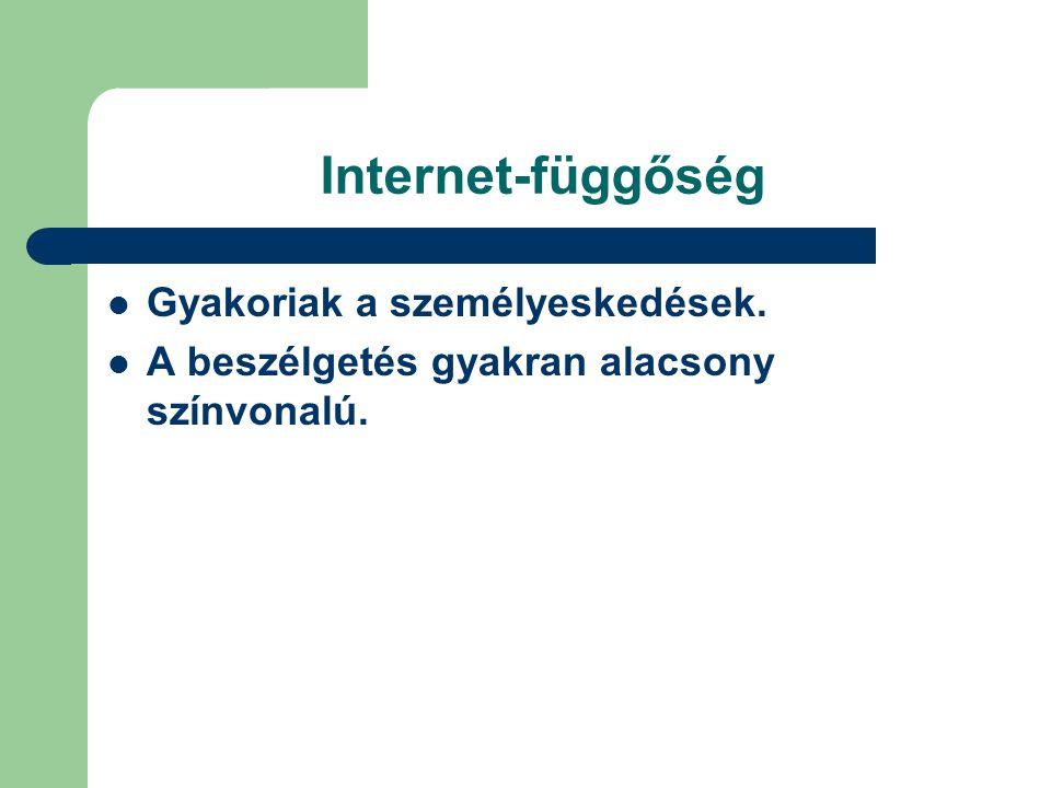 Internet-függőség  Gyakoriak a személyeskedések.  A beszélgetés gyakran alacsony színvonalú.