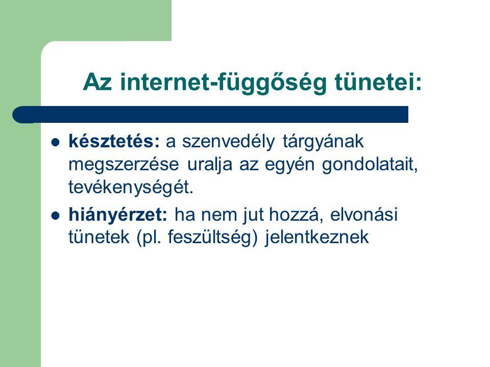 Az internet-függőség tünetei:  késztetés: a szenvedély tárgyának megszerzése uralja az egyén gondolatait, tevékenységét.