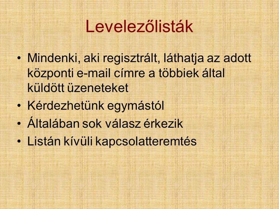 Levelezőlisták •Mindenki, aki regisztrált, láthatja az adott központi e-mail címre a többiek által küldött üzeneteket •Kérdezhetünk egymástól •Általában sok válasz érkezik •Listán kívüli kapcsolatteremtés