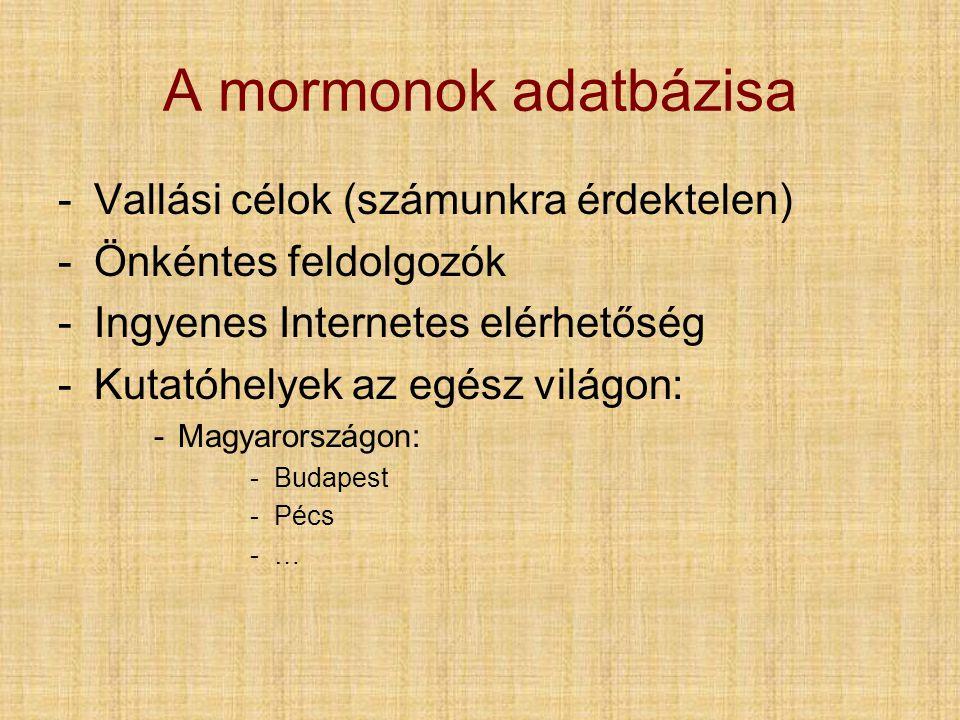 A mormonok adatbázisa -Vallási célok (számunkra érdektelen) -Önkéntes feldolgozók -Ingyenes Internetes elérhetőség -Kutatóhelyek az egész világon: -Magyarországon: -Budapest -Pécs -…-…