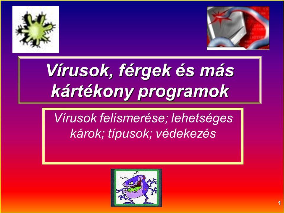 1 Vírusok, férgek és más kártékony programok Vírusok felismerése; lehetséges károk; típusok; védekezés