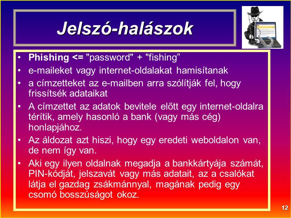 12 Jelszó-halászok •Phishing <=