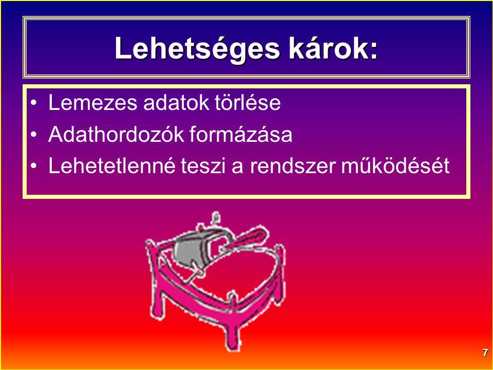 7 Lehetséges károk: •Lemezes adatok törlése •Adathordozók formázása •Lehetetlenné teszi a rendszer működését
