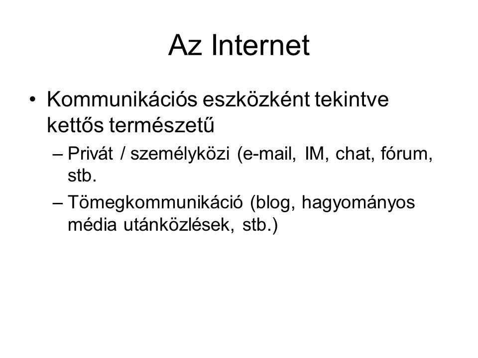 Az Internet •Kommunikációs eszközként tekintve kettős természetű –Privát / személyközi (e-mail, IM, chat, fórum, stb. –Tömegkommunikáció (blog, hagyom