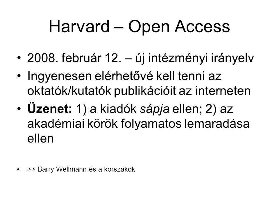 Harvard – Open Access •2008. február 12. – új intézményi irányelv •Ingyenesen elérhetővé kell tenni az oktatók/kutatók publikációit az interneten •Üze