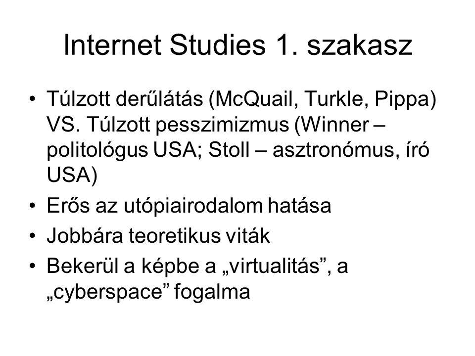 Internet Studies 1. szakasz •Túlzott derűlátás (McQuail, Turkle, Pippa) VS. Túlzott pesszimizmus (Winner – politológus USA; Stoll – asztronómus, író U