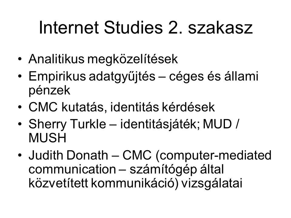 Internet Studies 2. szakasz •Analitikus megközelítések •Empirikus adatgyűjtés – céges és állami pénzek •CMC kutatás, identitás kérdések •Sherry Turkle