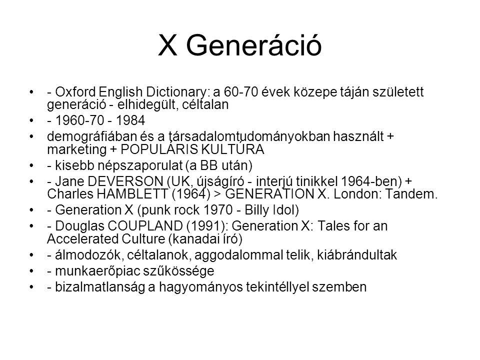 Y Generáció •- 1980 - 1995 •- első megjelenés: Advertising Age (1993) •- Echo Boomers, Második Baby Boom, Ezredesek (Millennials), Internet generáció (iGen) > cél elszakítani a megnevezést az X Generációtól •- attitűdváltozások / kognitív változások, a korábbi oktatási módszerek korlátozottan működnek •- közeli kapcsolat az IKT-val (számítógép - 97%; mobil - 94% USA) •- Screenagers (Douglas RUSHKOFF, USA író, újságíró, előadó - aktív tagja a Cyberpunk mozgalomnak) - olyan fiatalok, akik képernyők előtt nőnek fel > •más a médiahasználat (szörfözés - több forrás párhuzamos befogadása) •- nem cégekhez lojálisak, hanem munkákhoz - fokozott vágy az önkiteljesítésre •>> Vonnegut