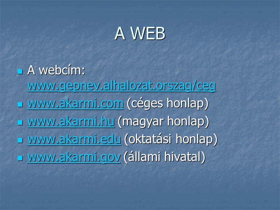 A WEB  A webcím: www.gepnev.alhalozat.orszag/ceg www.gepnev.alhalozat.orszag/ceg  www.akarmi.com (céges honlap) www.akarmi.com  www.akarmi.hu (magyar honlap) www.akarmi.hu  www.akarmi.edu (oktatási honlap) www.akarmi.edu  www.akarmi.gov (állami hivatal) www.akarmi.gov
