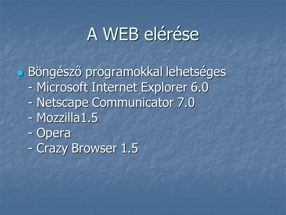 A WEB elérése  Böngésző programokkal lehetséges - Microsoft Internet Explorer 6.0 - Netscape Communicator 7.0 - Mozzilla1.5 - Opera - Crazy Browser 1.5