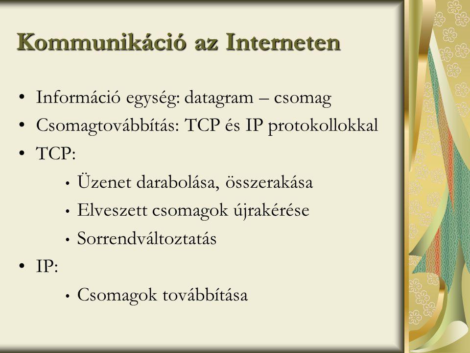 Kommunikáció az Interneten •Információ egység: datagram – csomag •Csomagtovábbítás: TCP és IP protokollokkal •TCP: • Üzenet darabolása, összerakása • Elveszett csomagok újrakérése • Sorrendváltoztatás •IP: • Csomagok továbbítása
