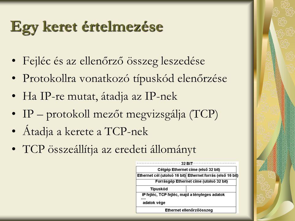 Egy keret értelmezése •Fejléc és az ellenőrző összeg leszedése •Protokollra vonatkozó típuskód elenőrzése •Ha IP-re mutat, átadja az IP-nek •IP – protokoll mezőt megvizsgálja (TCP) •Átadja a kerete a TCP-nek •TCP összeállítja az eredeti állományt