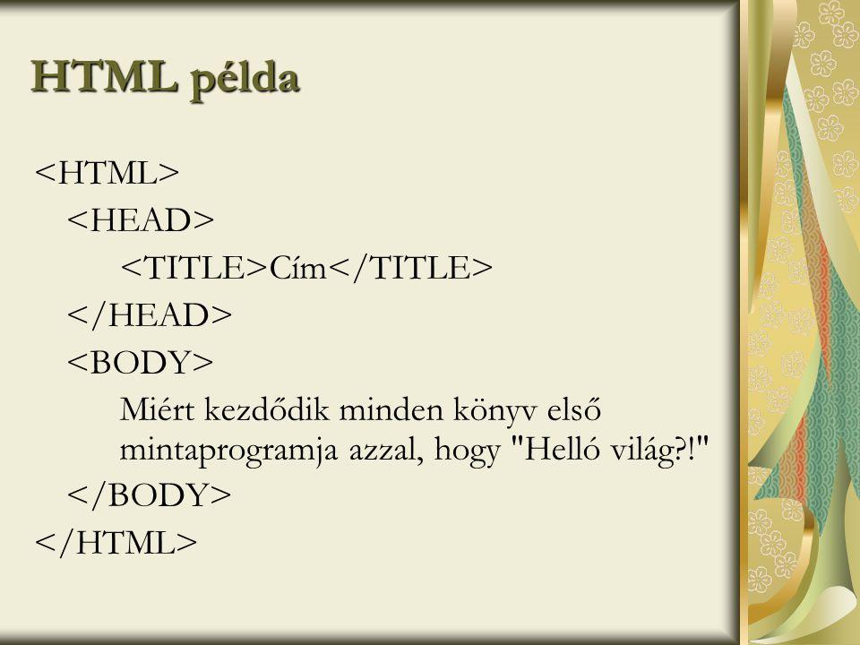 HTML példa Cím Miért kezdődik minden könyv első mintaprogramja azzal, hogy Helló világ?!
