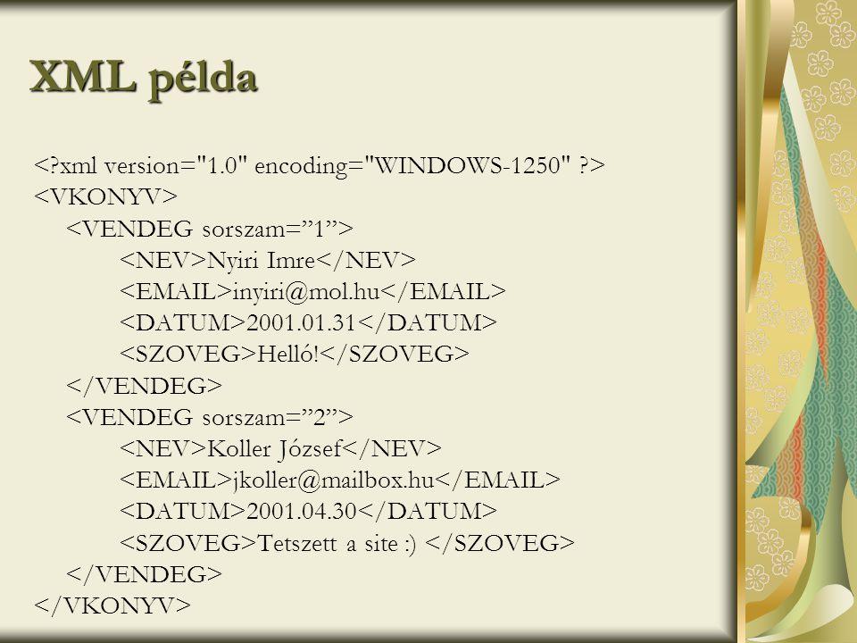 XML példa Nyiri Imre inyiri@mol.hu 2001.01.31 Helló.